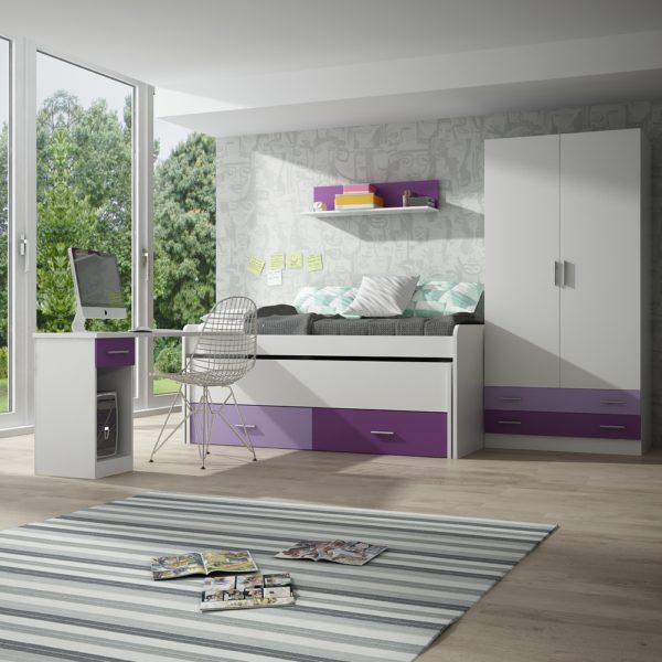 2-Dormitoro juvenil blanco-mora-violeta.
